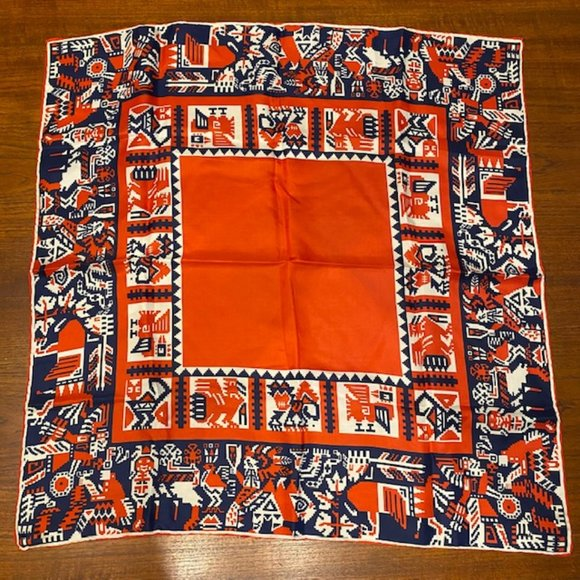 Vintage Pixelated Native Rolled Edge Silk Scarf